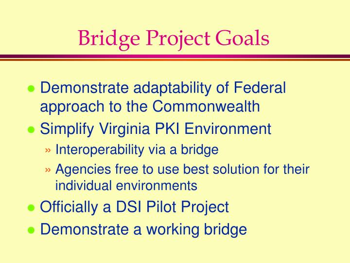 Bridge Project Goals