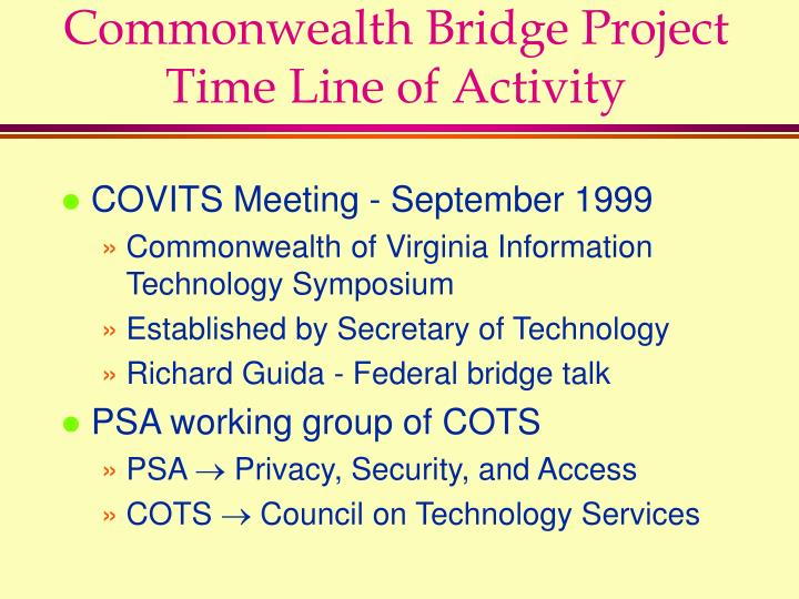 Commonwealth bridge project time line of activity