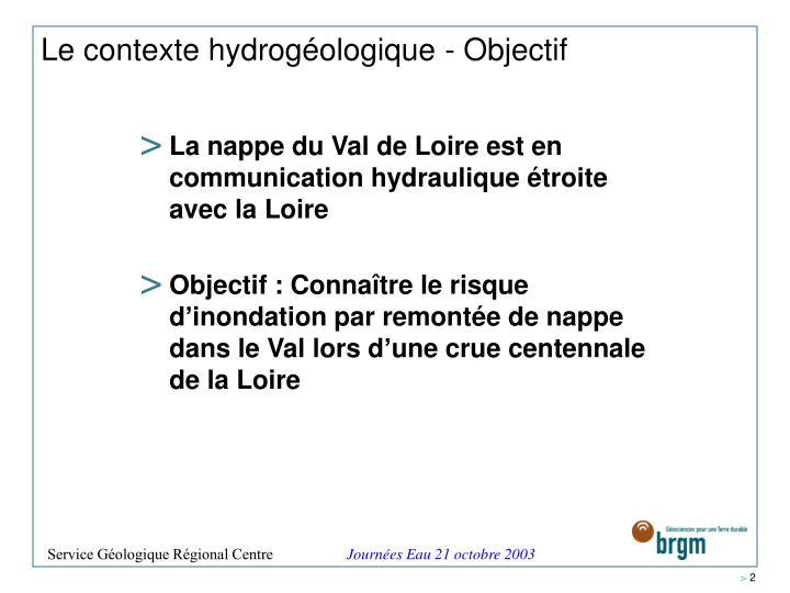 Le contexte hydrogéologique - Objectif