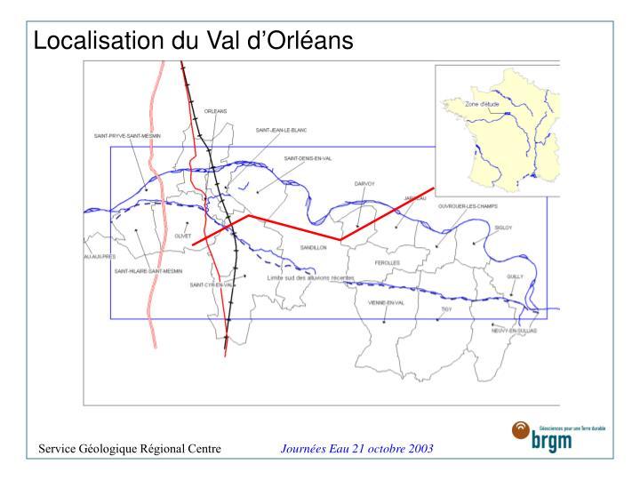 Localisation du Val d'Orléans