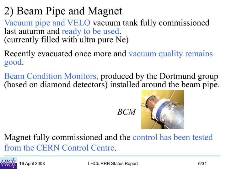 2) Beam Pipe and Magnet