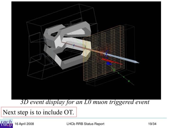 3D event display for an L0 muon triggered event