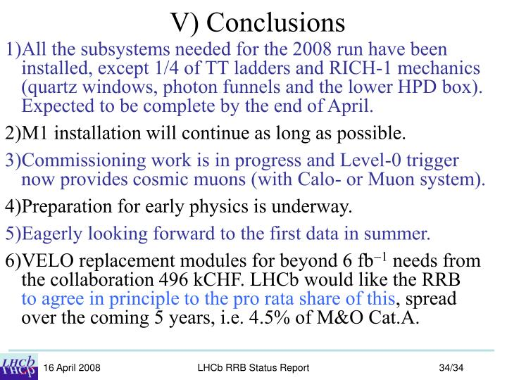 V) Conclusions
