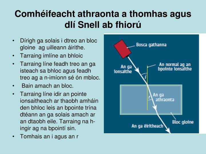 Comhéifeacht athraonta a thomhas agus dlí Snell ab fhiorú