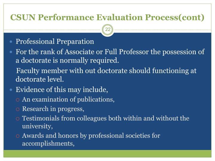 CSUN Performance Evaluation Process(cont)