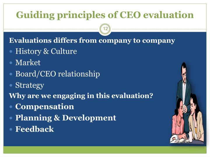 Guiding principles of CEO evaluation