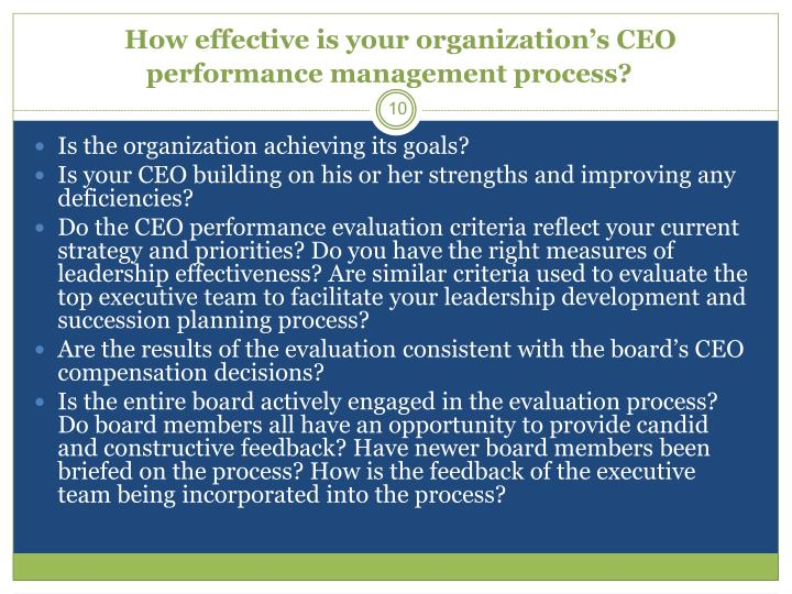 How effective is your organization's CEO performance management process?