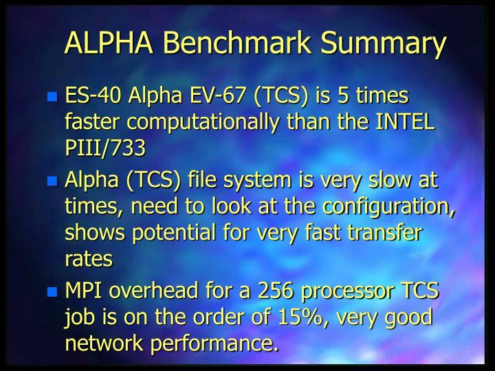 ALPHA Benchmark Summary