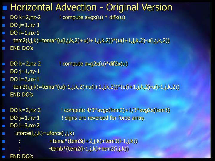 Horizontal Advection - Original Version