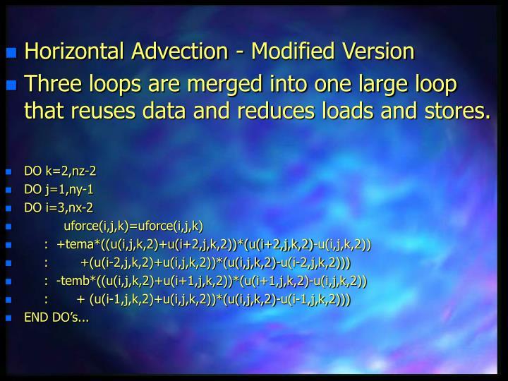 Horizontal Advection - Modified Version