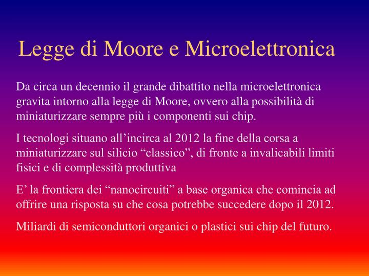 Legge di Moore e Microelettronica