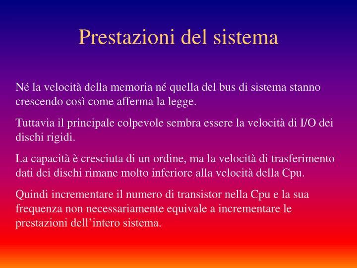 Prestazioni del sistema