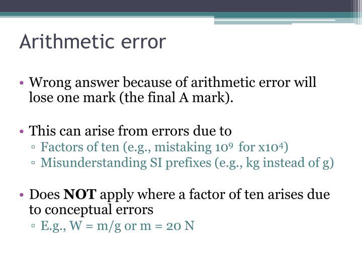 Arithmetic error