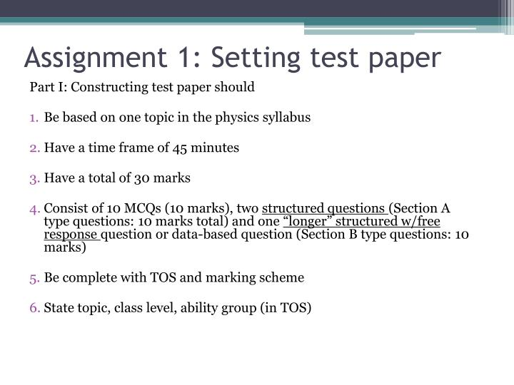 Assignment 1: Setting test paper