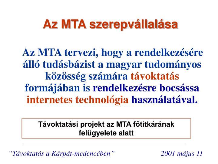 Az MTA szerepvállalása