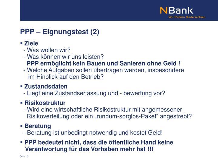 PPP – Eignungstest (2)