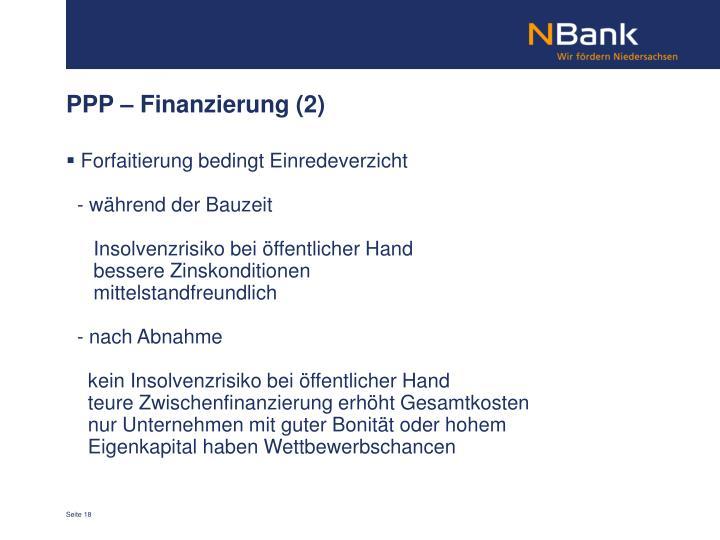 PPP – Finanzierung (2)
