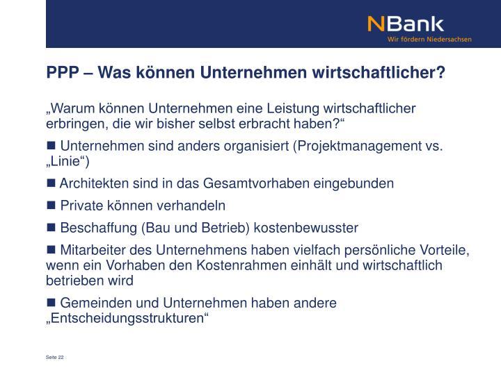 PPP – Was können Unternehmen wirtschaftlicher?