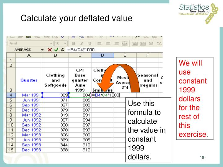 Calculate your deflated value