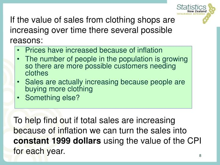 If the value of sales from clothing shops are increasing over time there several possible reasons: