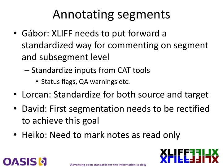 Annotating segments