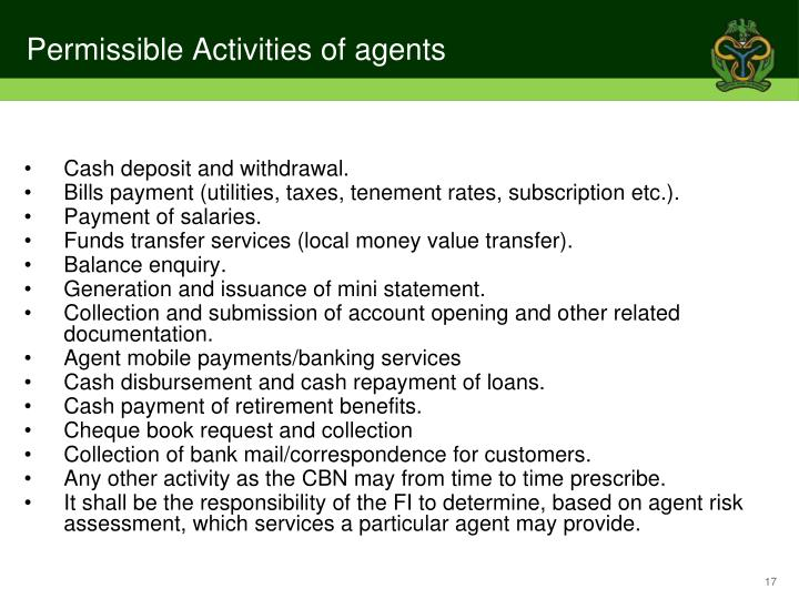 Permissible Activities of agents