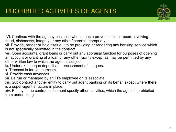 PROHIBITED ACTIVITIES OF AGENTS