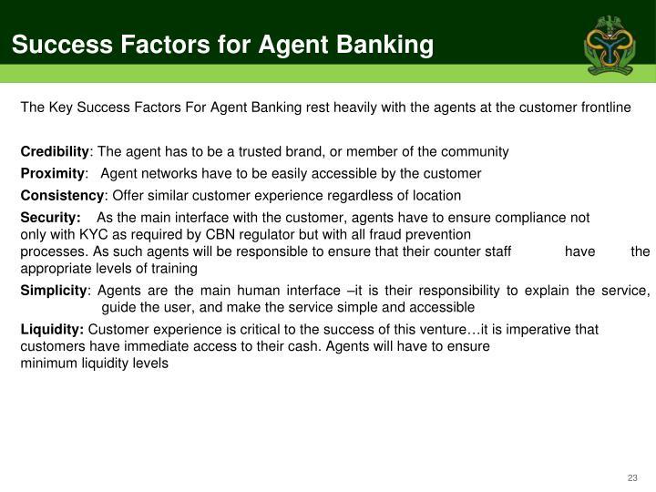 Success Factors for Agent Banking