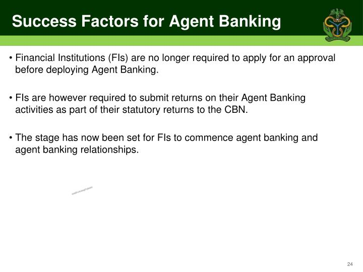 Success Factors for Agent Banking