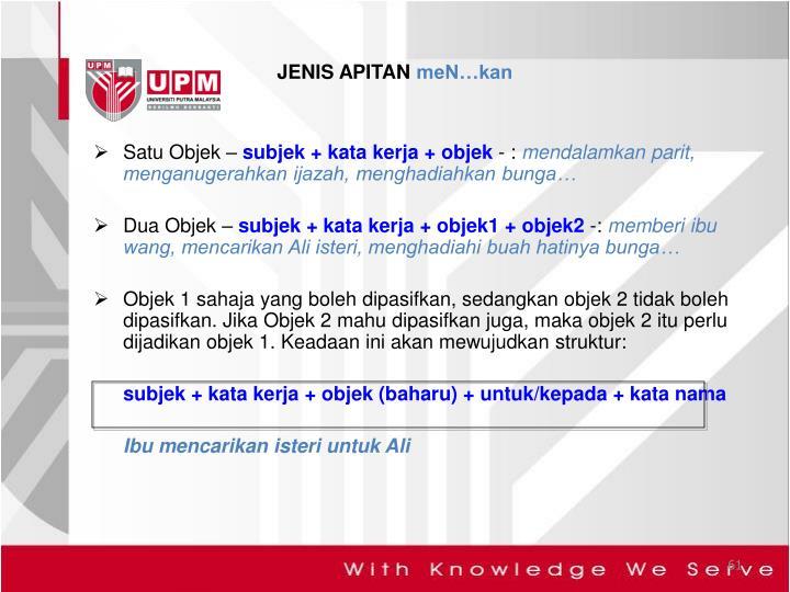 JENIS APITAN