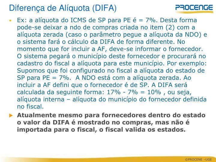 Diferença de Alíquota (DIFA)