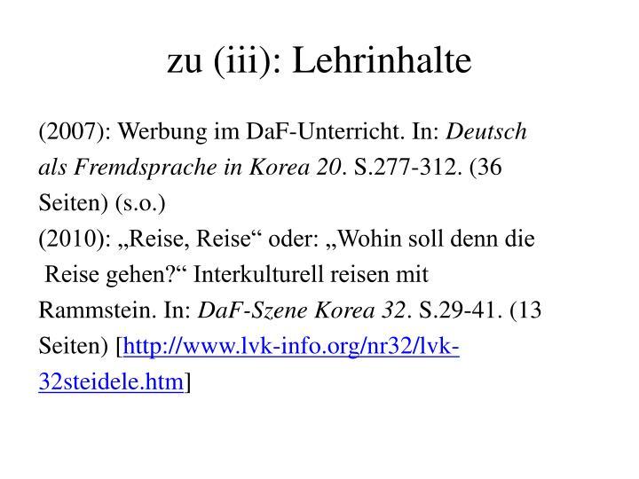 zu (iii): Lehrinhalte