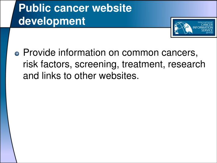 Public cancer website development