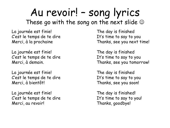Au revoir! – song lyrics