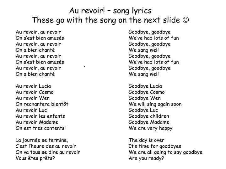 Au revoir! – song lyrics