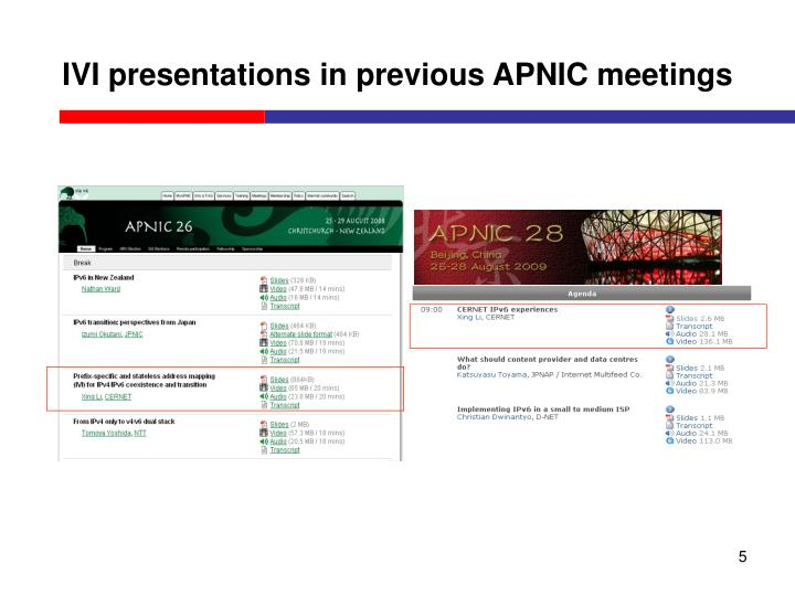 IVI presentations in previous APNIC meetings