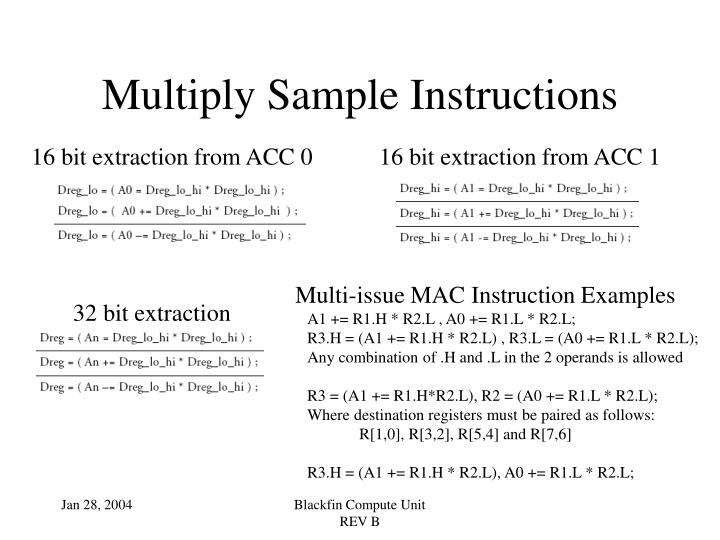 Multiply Sample Instructions