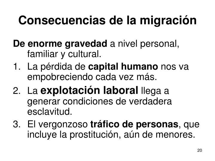 Consecuencias de la migración
