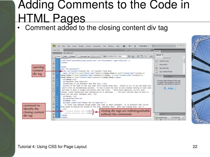 Adding Comments to the Code in HTML Pages