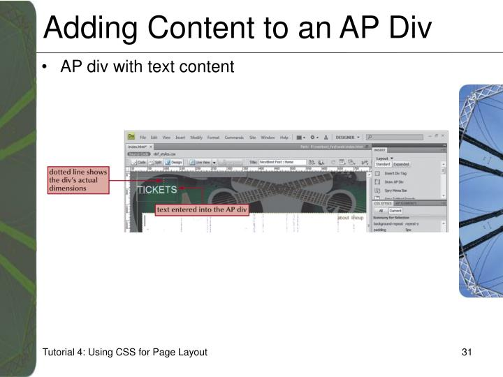 Adding Content to an AP Div