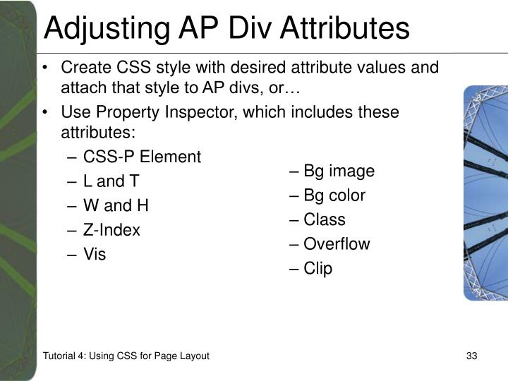 Adjusting AP Div Attributes