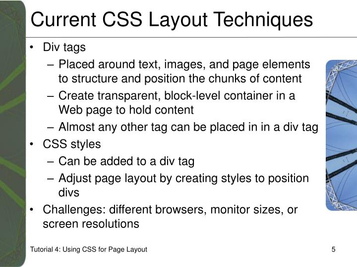 Current CSS Layout Techniques