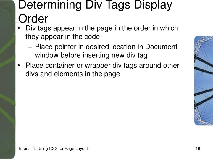 Determining Div Tags Display Order