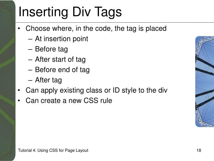 Inserting Div Tags
