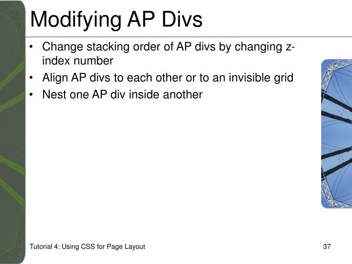 Modifying AP Divs
