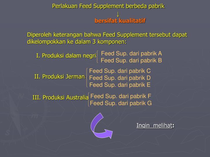 Perlakuan Feed Supplement berbeda pabrik