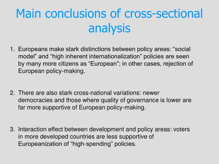 Main conclusions of cross-sectional analysis