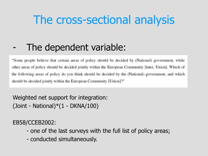 The cross-sectional analysis