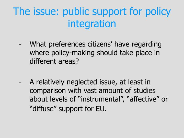 The issue: public support for policy integration