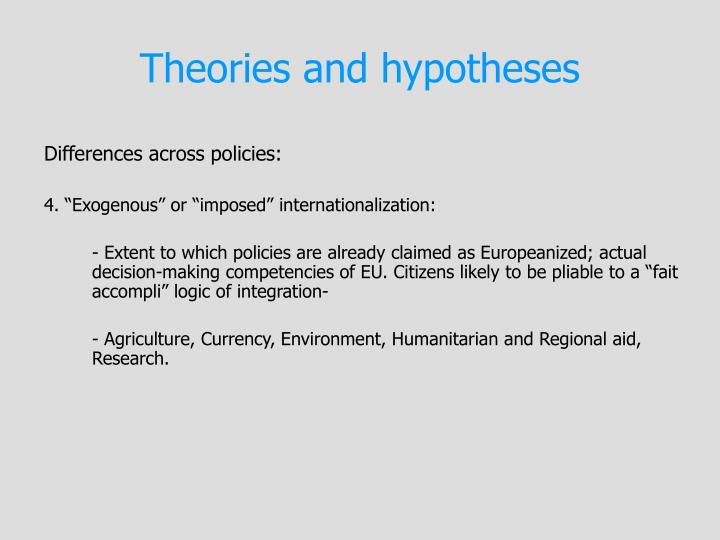 Theories and hypotheses